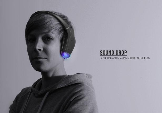 場所を通じて音楽をシェアする近未来型ヘッドホン「Sound Drop」