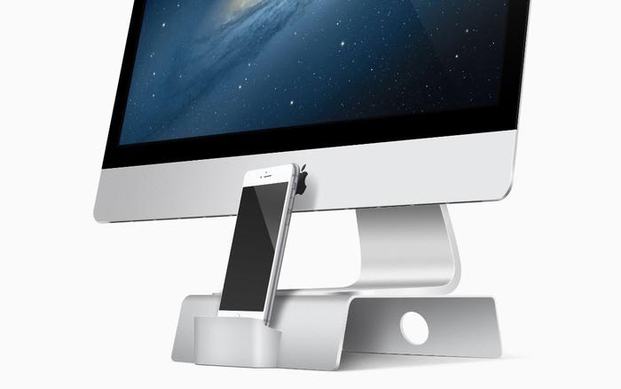 iMacとiPhone を同時置き!スタイリッシュなスタンド「Fusion Stand」
