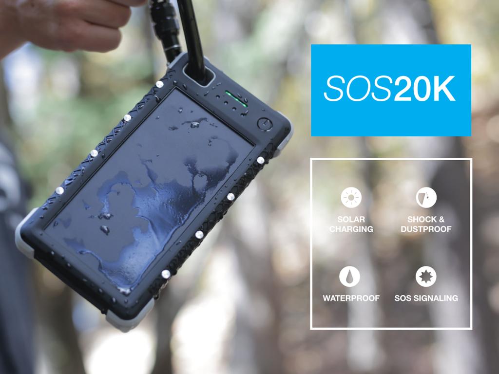 これなら生き残れるかも?ものすごい頑丈な大容量ソーラーモバイルバッテリー「SOS 20K」