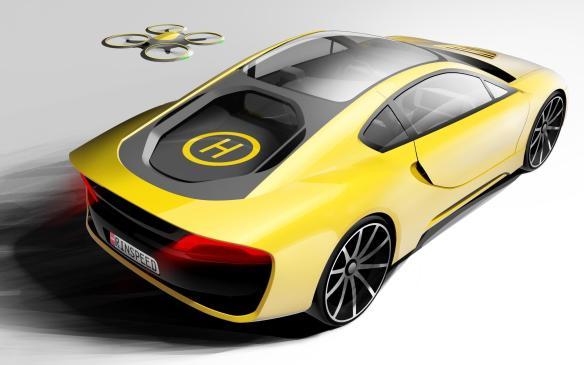 22世紀の自動運転車はこうなる?ドローン着陸ポート装備のコンセプトカー「Rinspeed Σtos」