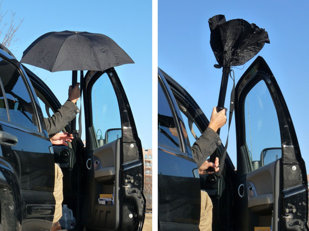 雨の日に車内がぬれない!瞬時にシャフトに収納できる傘「RainBender」