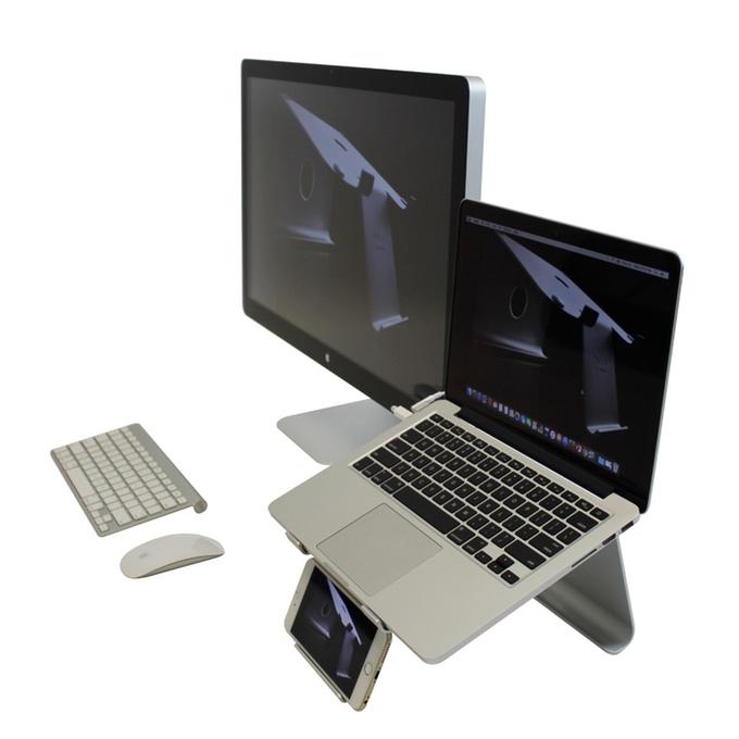 机が超スッキリ!スマホとラップトップが置ける折りたたみ&高さ調節式スタンド