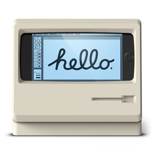 ハンパないビンテージ感!iPhoneでオールドMacを存分に楽しめるスタンド
